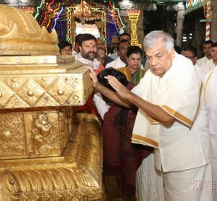 PM Ranil Wickremesinghe offers prayers at Tirumala temple