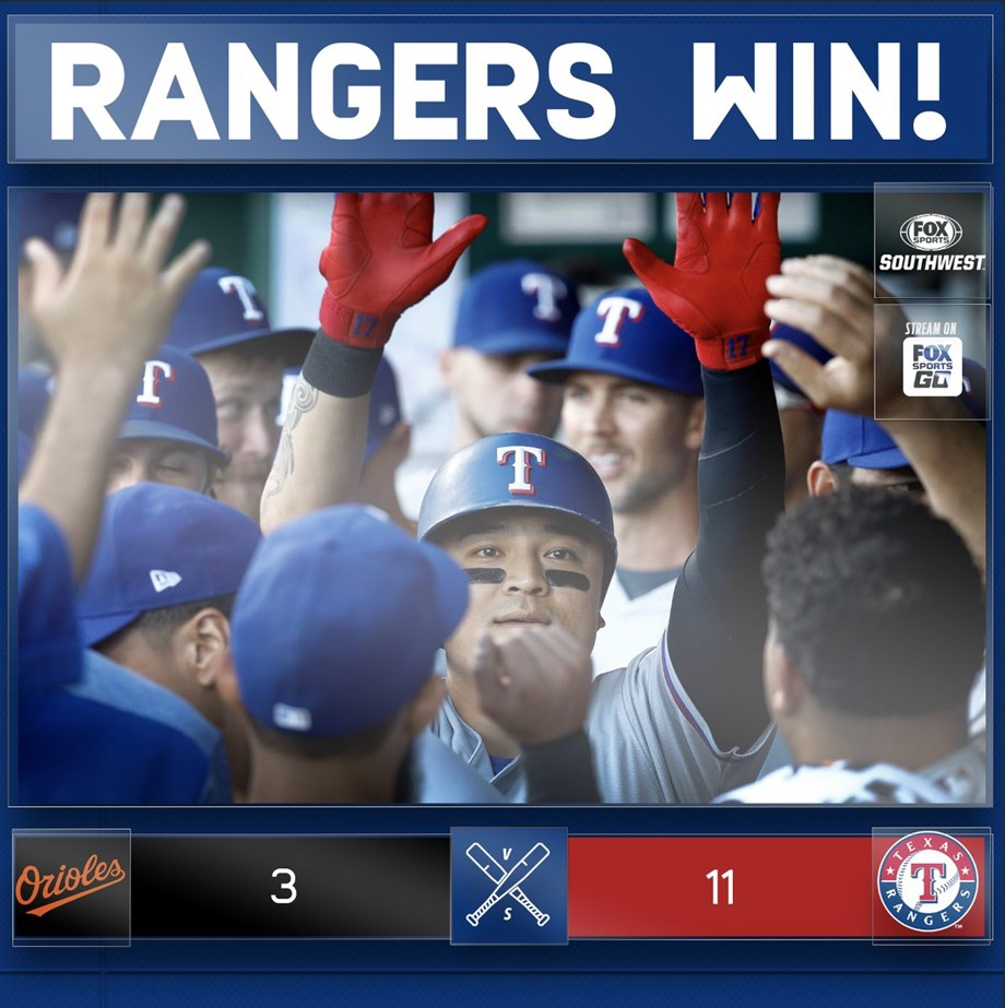Rougned Odor hits grand slam as Rangers post 11-3 victory over Baltimore Orioles