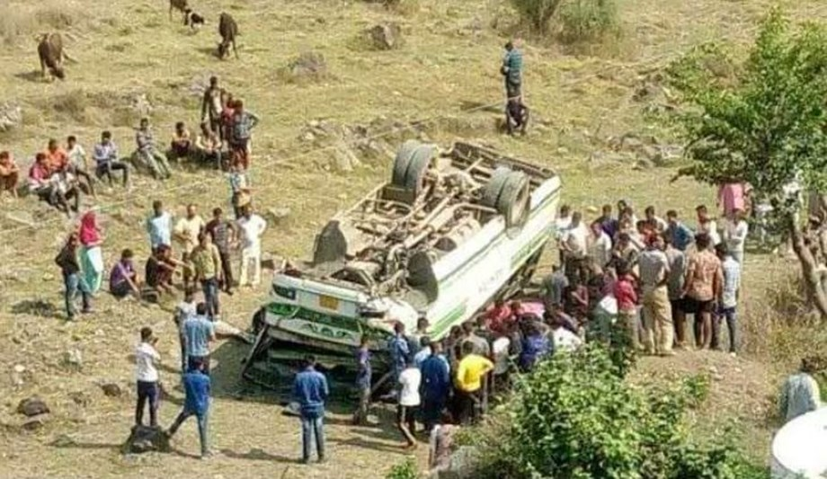 One dead, six injured as bus skids off road and rolled down about 100 meters