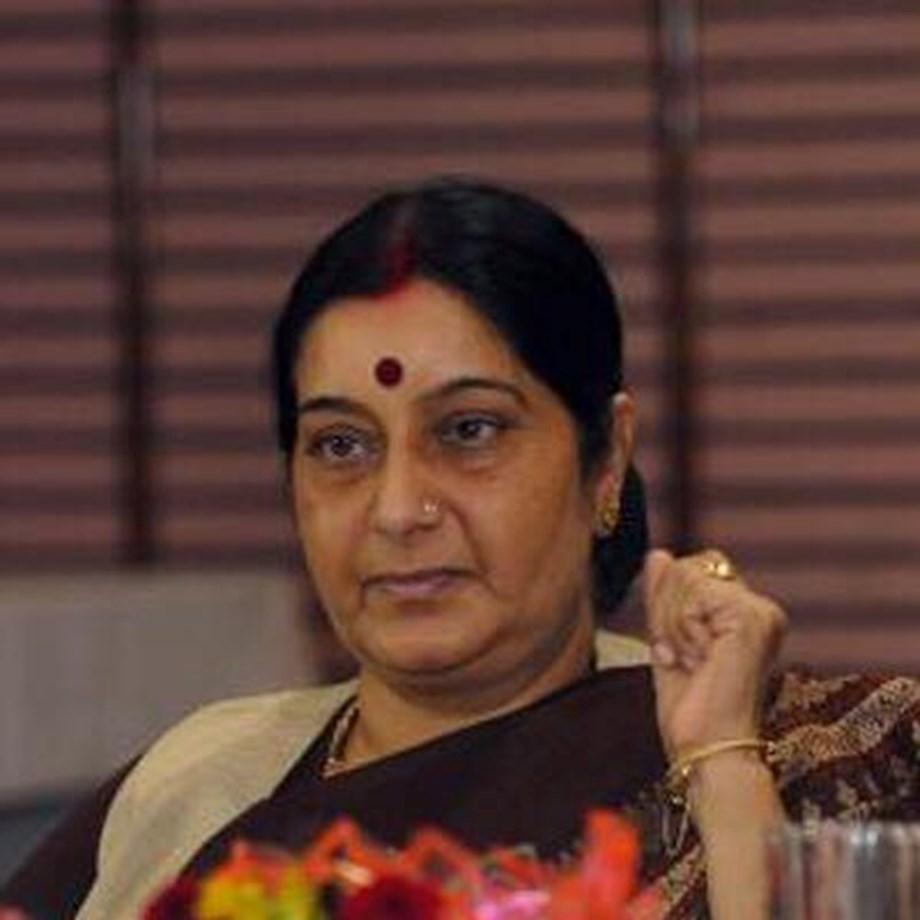 Sushma Swaraj pays floral tribute to Lal Bahadur Shastri