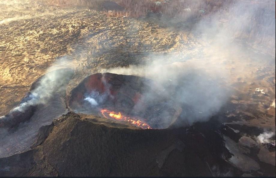 Lava eruption at foot of Kilauea Volcano on Big Island of Hawaii slows to virtual halt