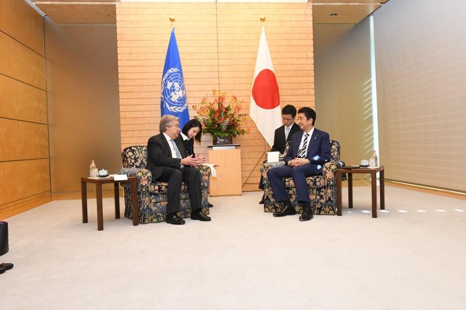 UN Secretary General Guterres and Shinzo Abe of Japan welcomes US-Korea talks
