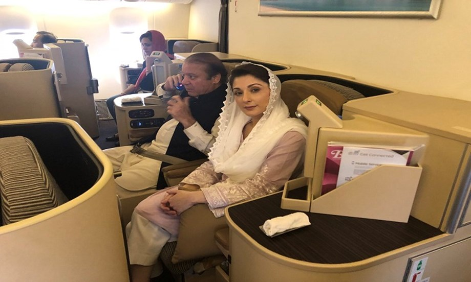 Sharif, daughter arrested in graft case as they return to Pakistan