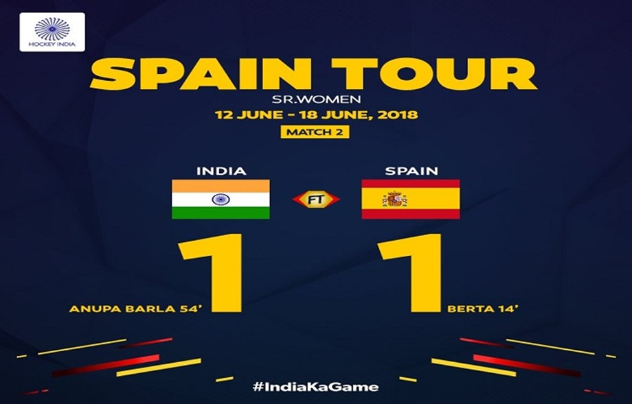 Indian women's with a safe 1-1 draw against Spain