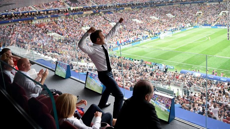 Macron cheers from the stands -- then 'dabs' in the changing room