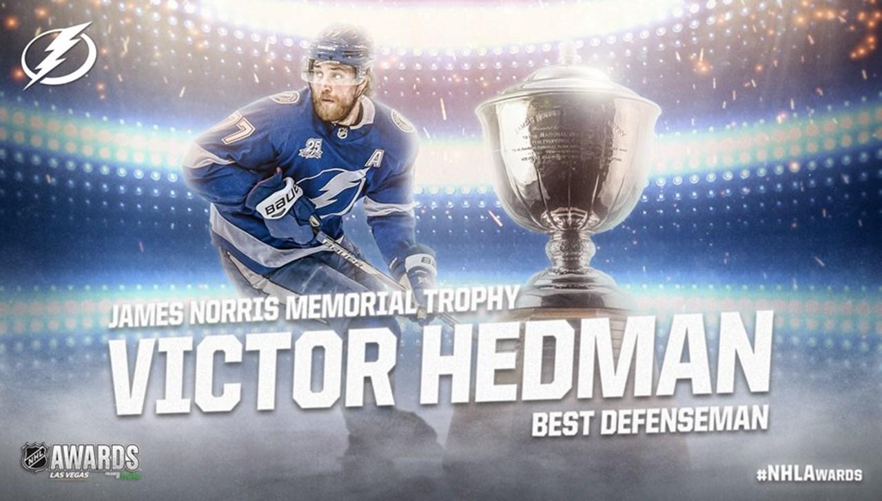 Norris Trophy in Victor Hedman's hands, beats, Drew Doughty, PK Subban