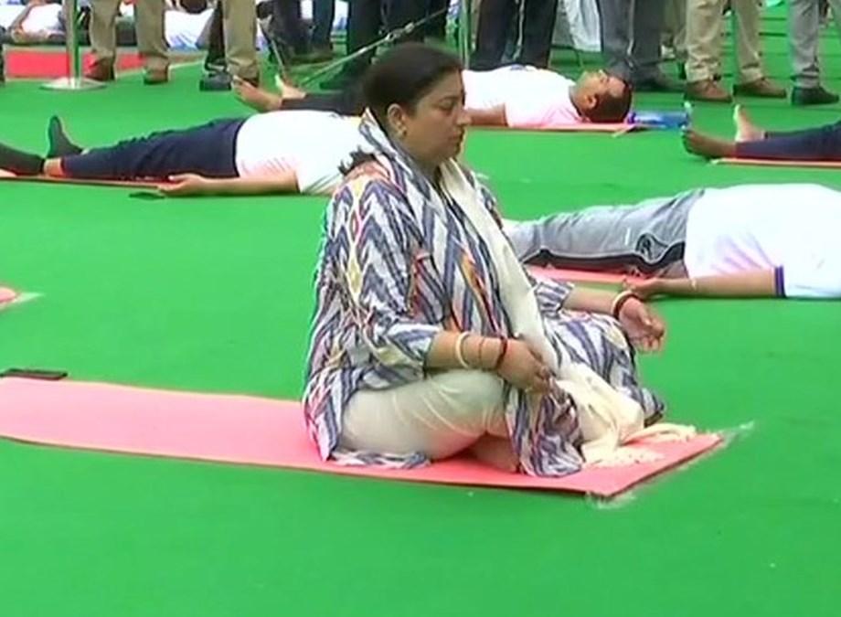 Yoga Day: Union minister Irani, CM Khattar perform asanas