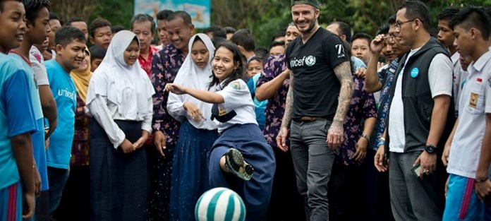UNICEF envoy David Beckham sets sights on new goal: ending bullying in Indonesia's schools