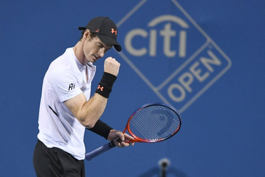 Andy Murray lets out one yell, then another, and violently pumps his right fist