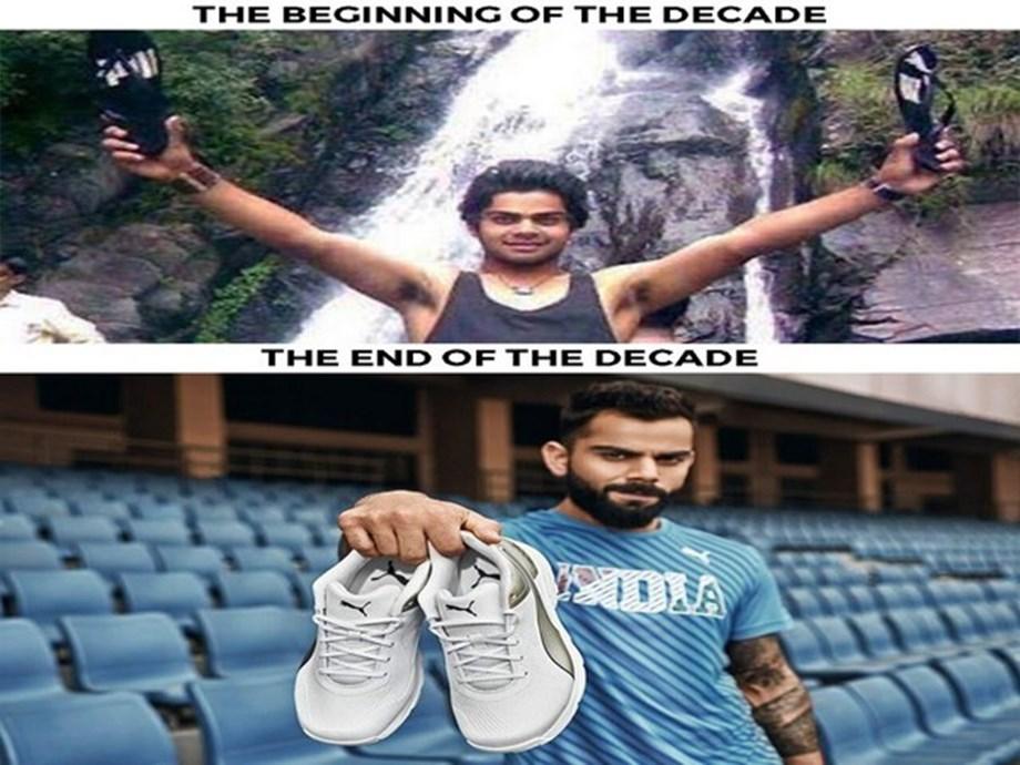 Virat Kohli shares decade comparison pictures