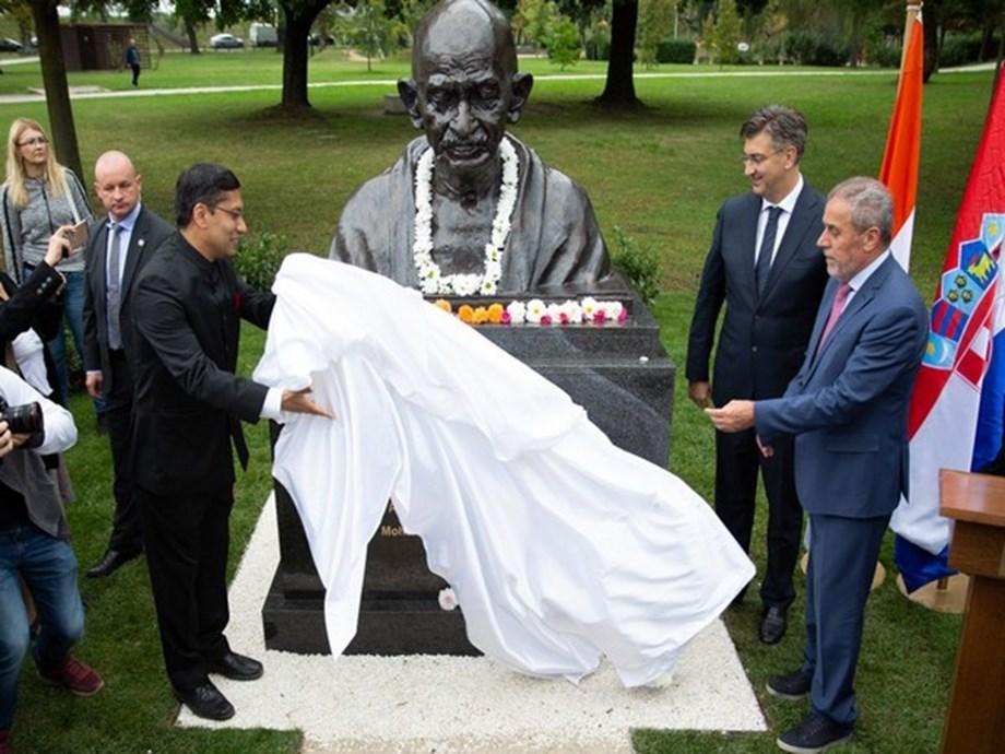 Croatia unveils Gandhi statue in Zagreb to mark his 150th birth anniversary