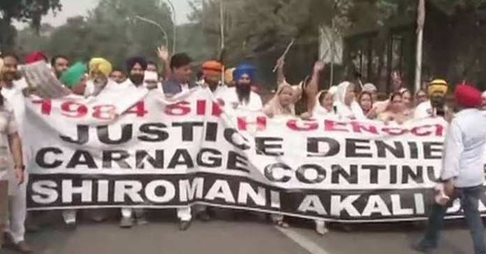 Akali Dal protest over justice for 1984 anti-Sikh riot victims