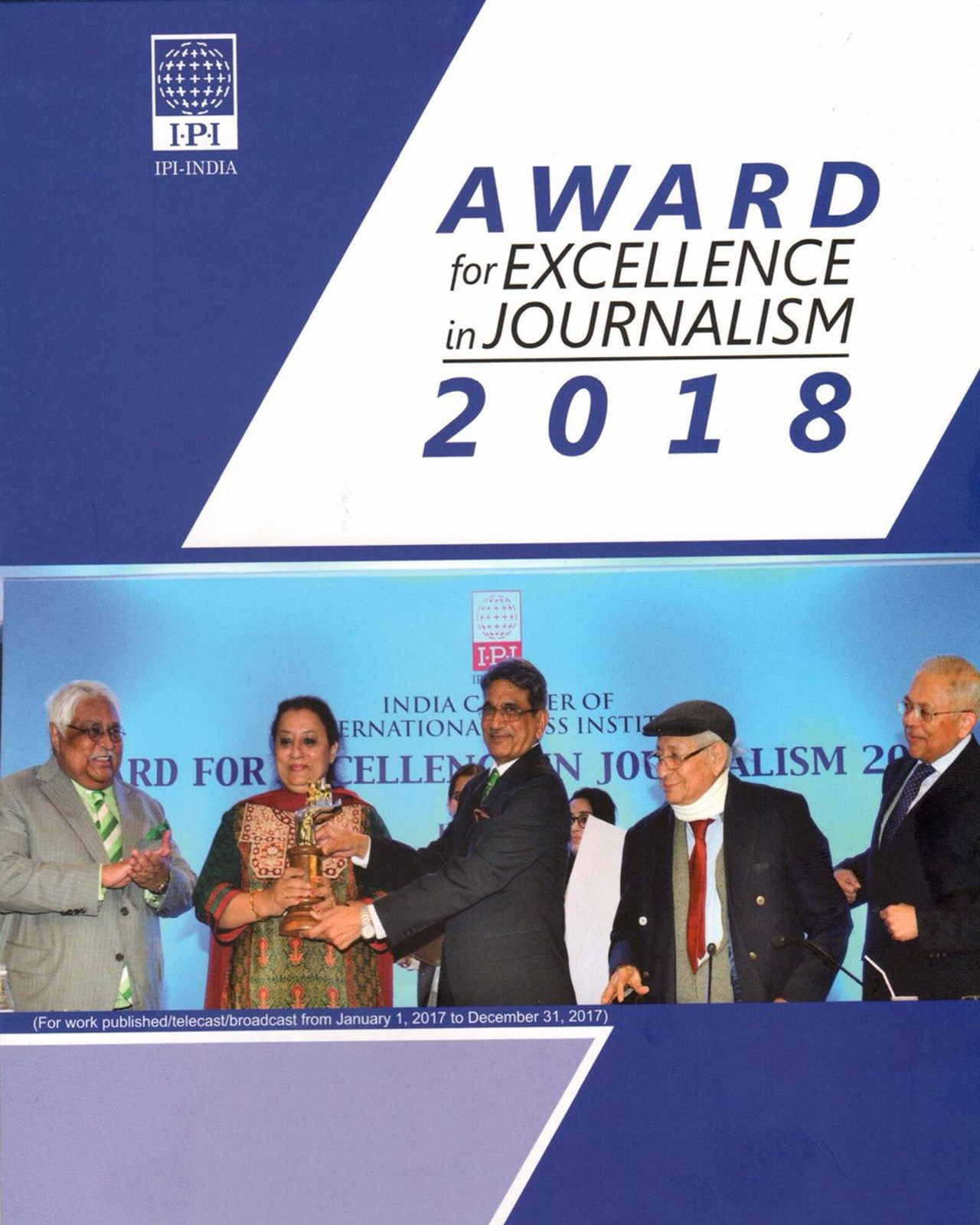 IPI India Award for excellence in journalism given to Namrata Biji Ahuja