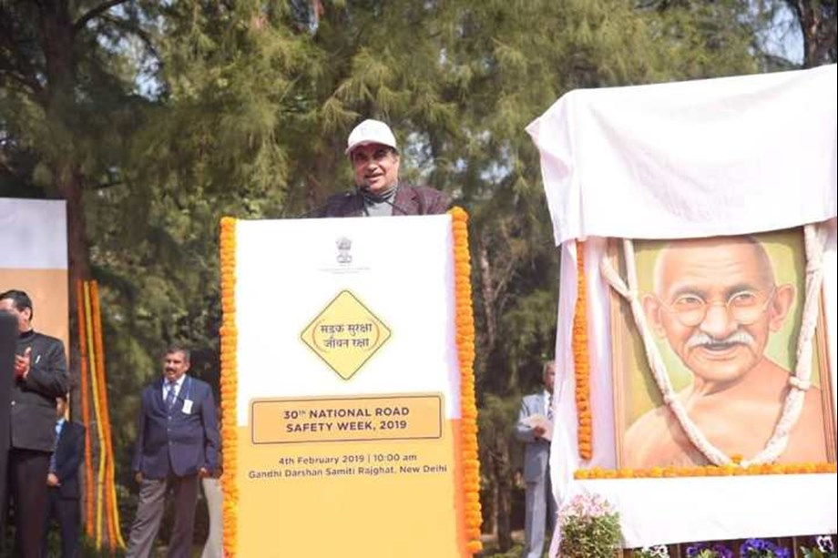 Nitin Gadkari administers pledge to people on 30th National Road Safety Week