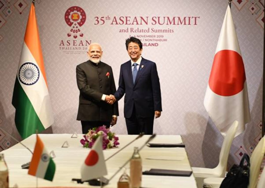 Image result for Prime Minister Shri Narendra Modi met the Prime Minister of Japan, H.E. Mr. Shinzo Abe on the margins of India-ASEAN and East Asia Summit 2019 at Bangkok on 04 November 2019. The two leaders have met with each other thrice in the last about four months, and their previous meeting was in Vladivostok in September 2019. The Prime Minister congratulated Prime Minister Abe on the recent coronation of the Emperor of Japan. Prime Minister Abe recalled warmly the participation of the President of India in the ceremony. Prime Minister Modi said that he eagerly looked forward to welcoming Prime Minister Abe in India next month for India-Japan Annual Summit. He also said that he was convinced of the success of the forthcoming Annual Summit in further deepening the India-Japan Special Strategic and Global Partnership. The leaders welcomed the increasing economic engagement between the two countries, propelled by high-level exchanges. The leaders also reviewed the progress on Mumbai-Ahmedabad High Speed Rail project and reaffirmed their commitment to advance mutual efforts to facilitate the smooth implementation of the project. The leaders welcomed that the inaugural 2+2 Foreign and Defence Ministerial Dialogue will take place later this month in India. They agreed that the Dialogue will help provide impetus to the bilateral security and defence cooperation between the two sides. The two Prime Ministers also reaffirmed their commitment towards a free, open and inclusive Indo-Pacific region based on a rules-based order. They agreed to further strengthen the bilateral cooperation, including in thirdcountries, for achieving the shared objective of peace, prosperity and progress of the Indo-Pacific region.