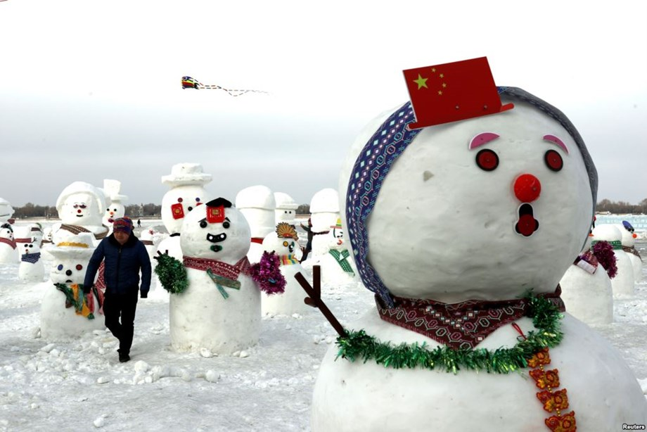 Chinese Harbin city host winter festival, visitors gather around Songhua river