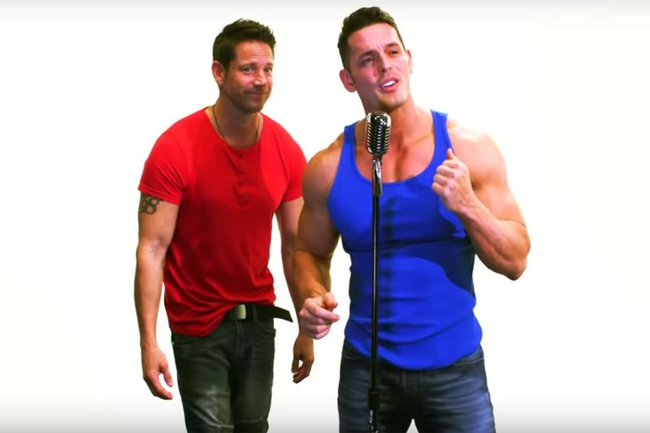 98 Degrees' Jeff Timmons and pro wrestler 'Mr Pec-Tacular' in music video