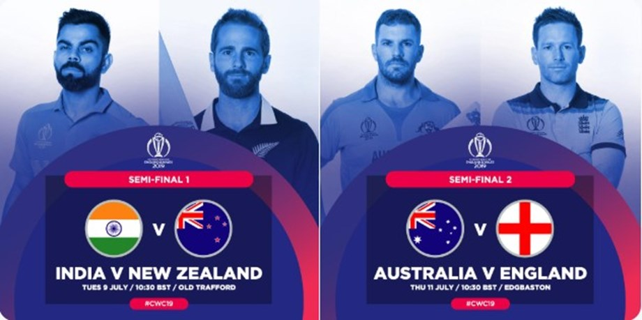 It's India against New Zealand in first semifinal, hosts England face Australia in other