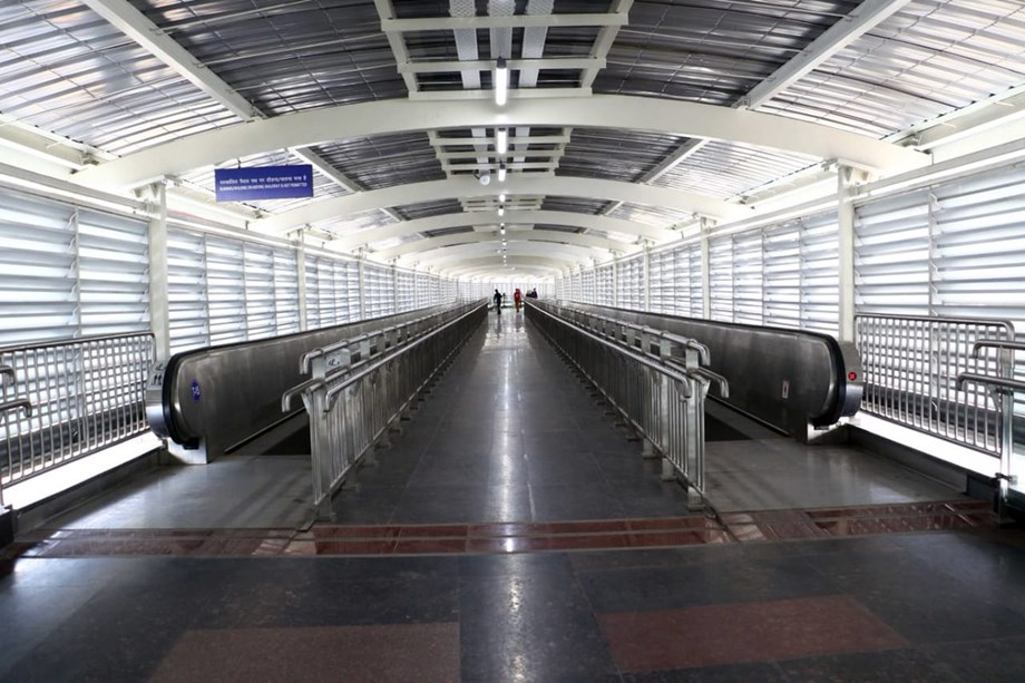 Pink Line and Airport Line linked with foot-overbridge consisting of 22 travelators