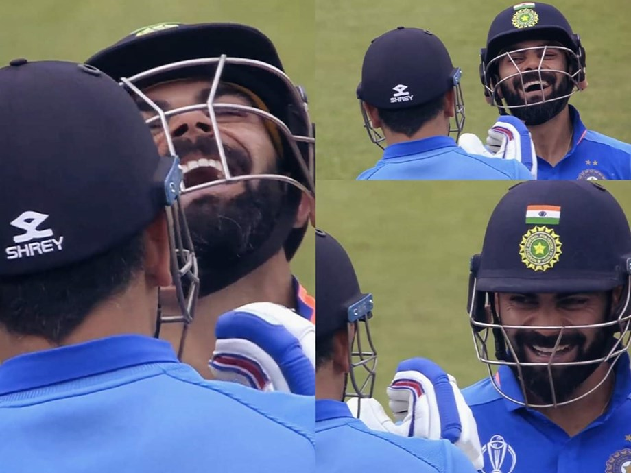 CWC 2019: Skipper Virat Kohli's reaction to Dhoni's six goes viral