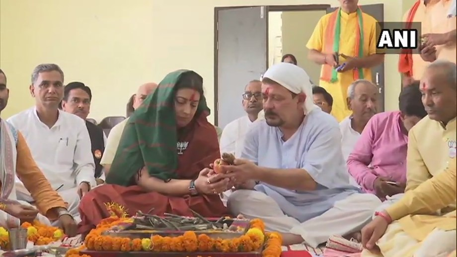 Union Minister Smriti Irani performs 'puja' ahead of filing nomination from Amethi LS seat