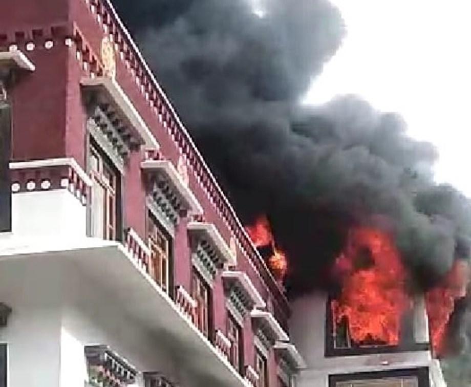 Fire breaks out at Dhakpo Shedrupling Monastery in Kais, Kullu