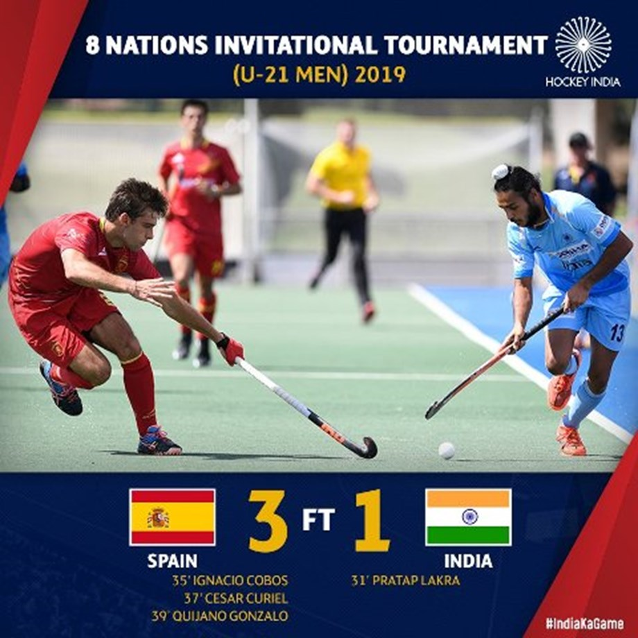 Indian junior men's hockey team lose 1-3 to Spain