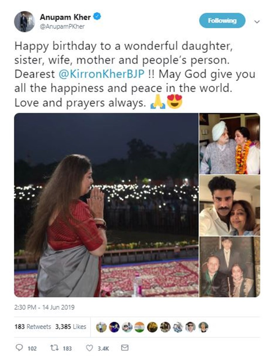 Here's how Anupam Kher wished wife Kirron on her birthday