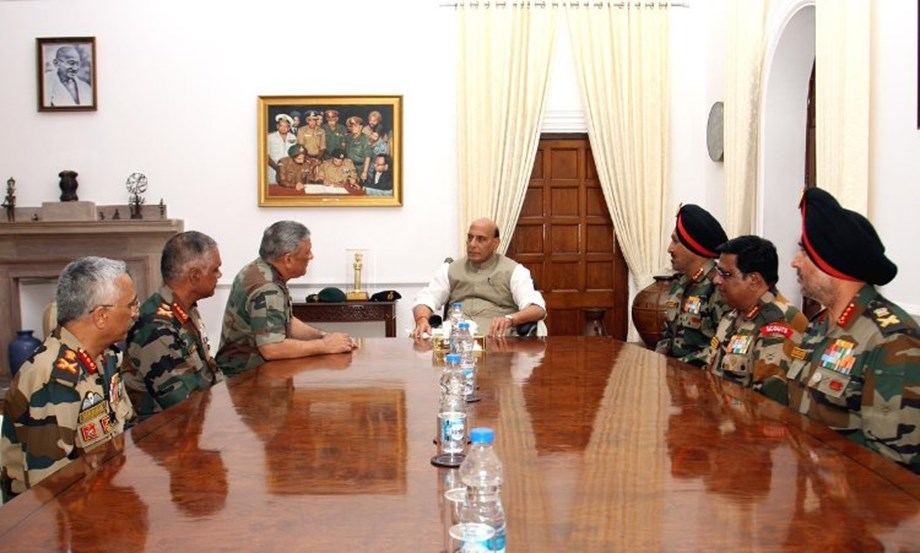 Rajnath meets top Army Commanders, lauds 'exceptional professionalism' of force