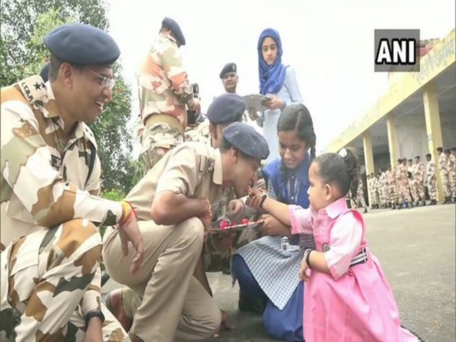 J-K: School students celebrate 'Raksha Bandhan' with ITBP soldiers in Udhampur