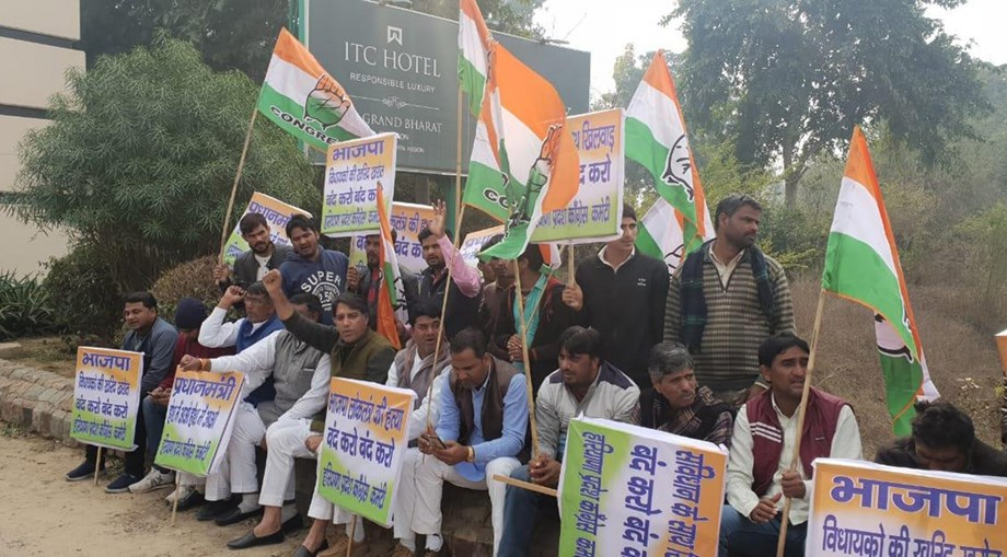 Youth Cong protesters allege BJP of disrespecting Constitution, murdering democracy