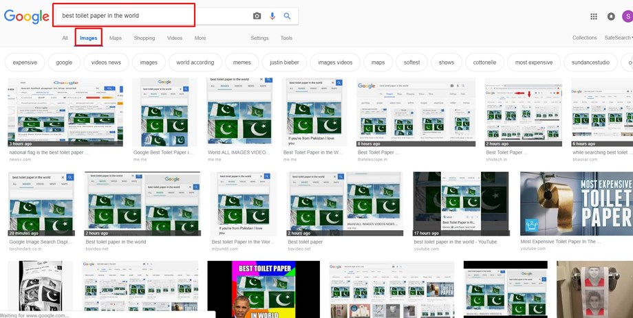 Google says no evidence found that images ranked Pak flag for 'toilet paper'