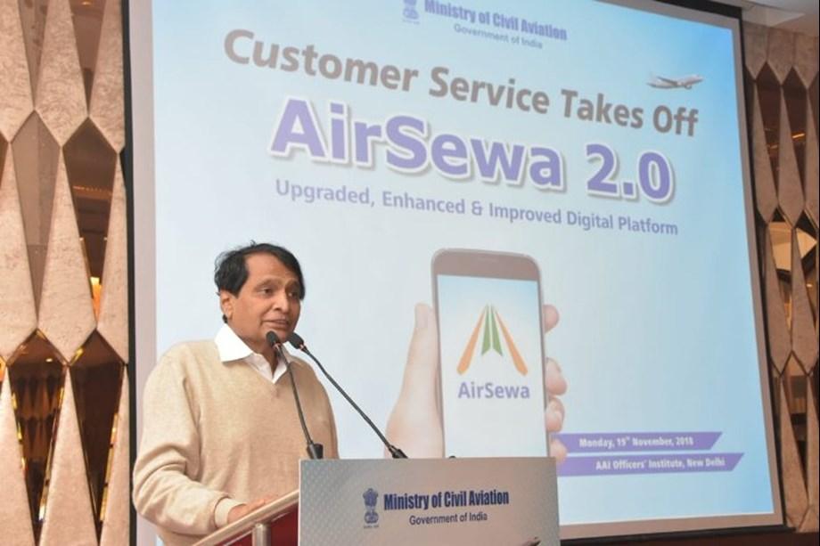 Suresh Prabhu launches AirSewa 2.0 web portal, mobile app in New Delhi