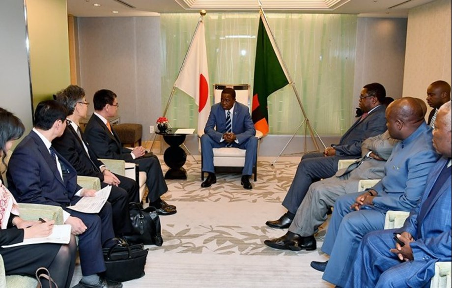 Foreign Minister Taro Kono pays a courtesy call on President of Zambia