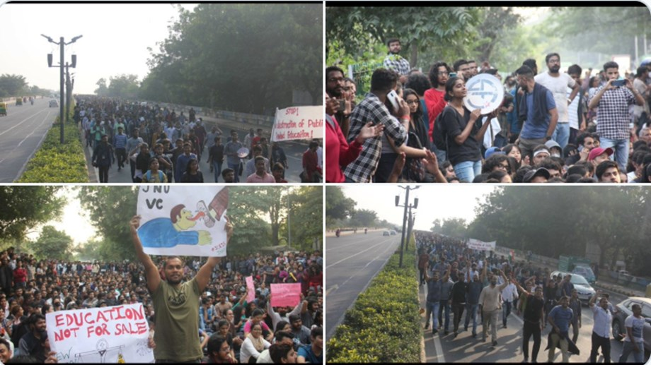 JNU students battle police lathicharge on way to R Bhawan, city traffic at a stand still