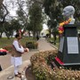 MoS MEA pays floral tribute to Mahatma Gandhi in Peru