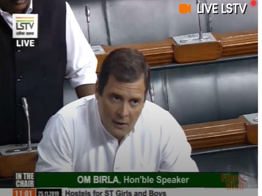 Rahul speaks briefly in Lok Sabha, accuses govt of 'murdering' democracy in Maharashtra