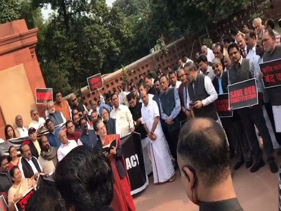 Sonia Gandhi reads out Preamble of Indian Constitution during Oppn protest