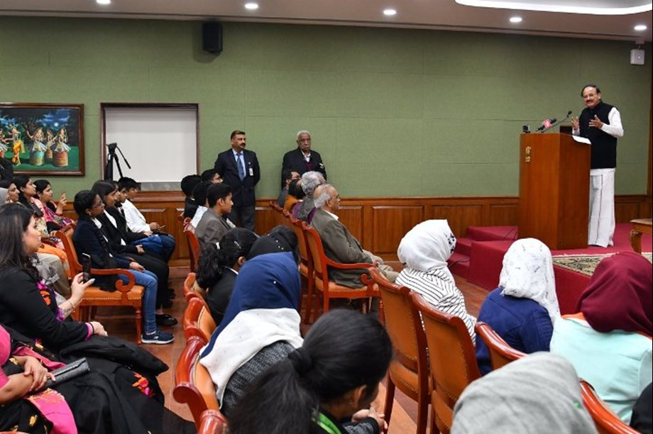 Vice President Naidu interacts with NRI students from Gulf countries on Jan 29