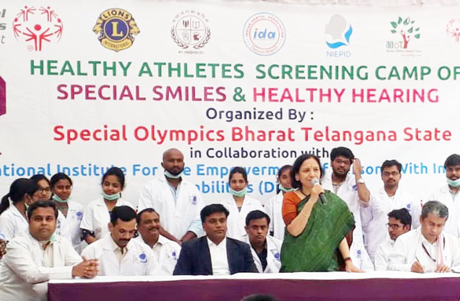 Ms Dolly Chakravarthy inaugurates the Dental Screening camp for Intellectually Disabled Special Olympics athletes