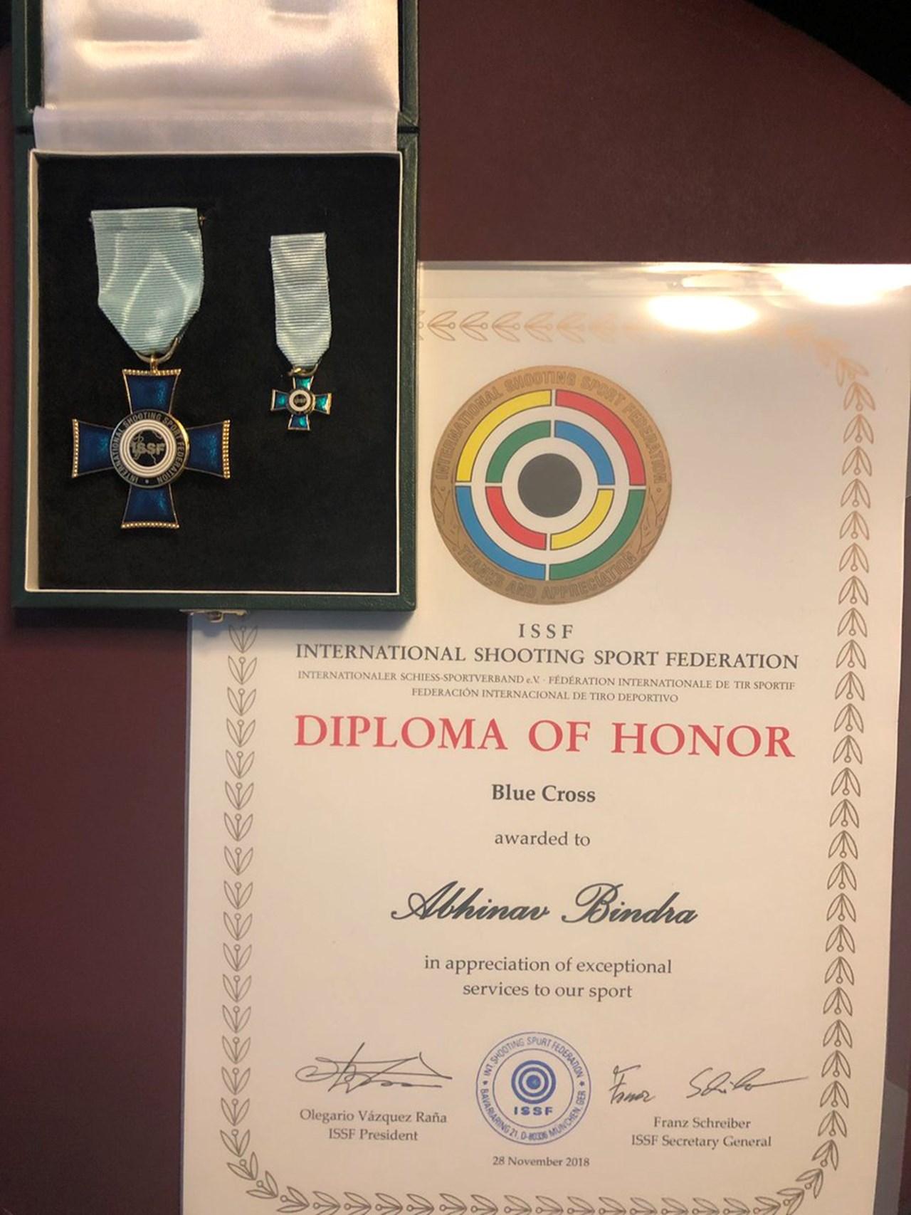 ISSF awards Abhinav Bindra with highest honour 'Blue Cross'